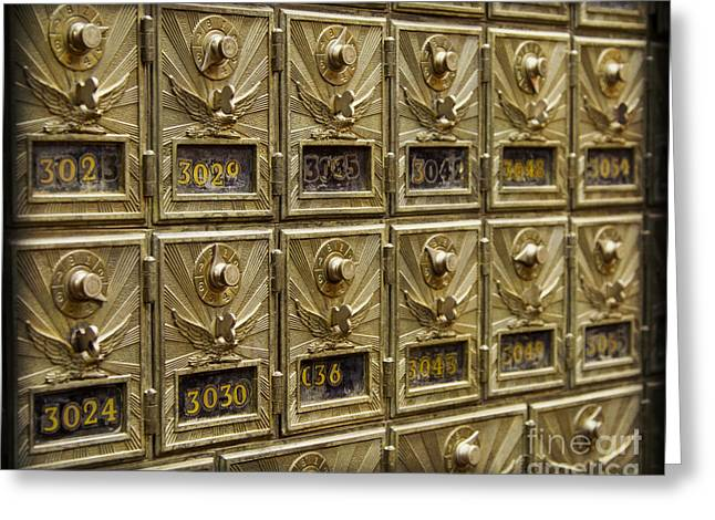 Rows of Post Office Mailboxes with Combination Locks and Brass o Greeting Card by ELITE IMAGE photography By Chad McDermott