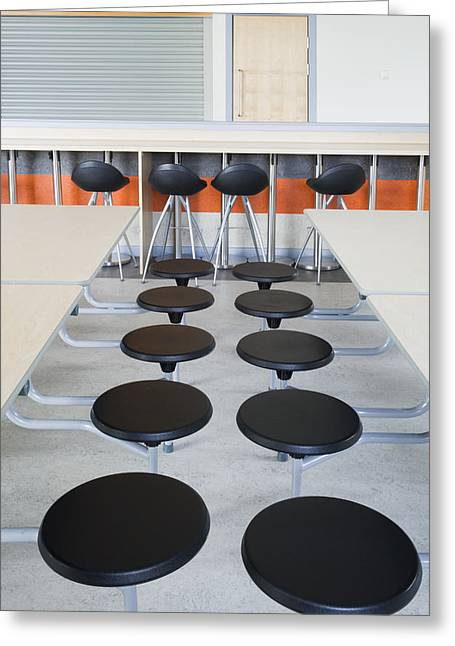 Dining Hall Greeting Cards - Rows Of Seats At Tables In The Dining Greeting Card by Iain  Sarjeant