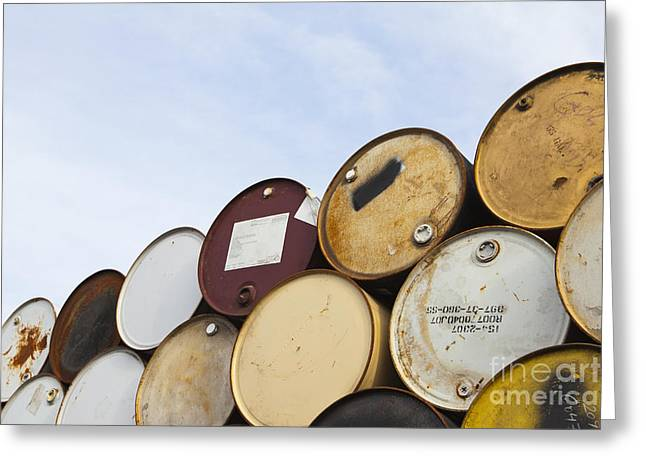 Rusted Barrels Greeting Cards - Rows of Stacked Barrels Greeting Card by Paul Edmondson