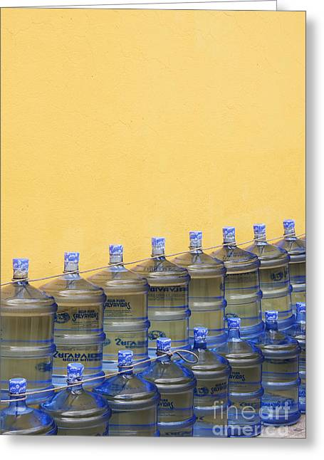 Rows Of Water Jugs Greeting Card by Jeremy Woodhouse
