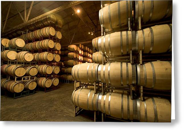 Vintner Greeting Cards - Rows Of Wine Barrels Stacked Greeting Card by Phil Schermeister