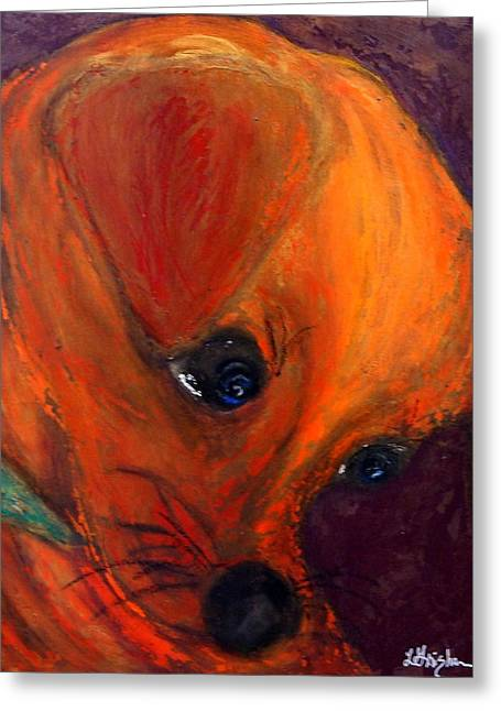 Portaits Mixed Media Greeting Cards - Roxies New Portrait Greeting Card by Laura  Grisham