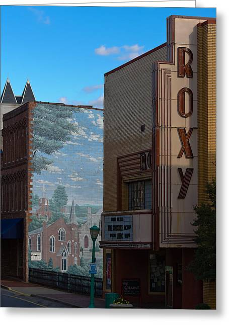 Downtown Franklin Greeting Cards - Roxy Theater and Mural Greeting Card by Ed Gleichman