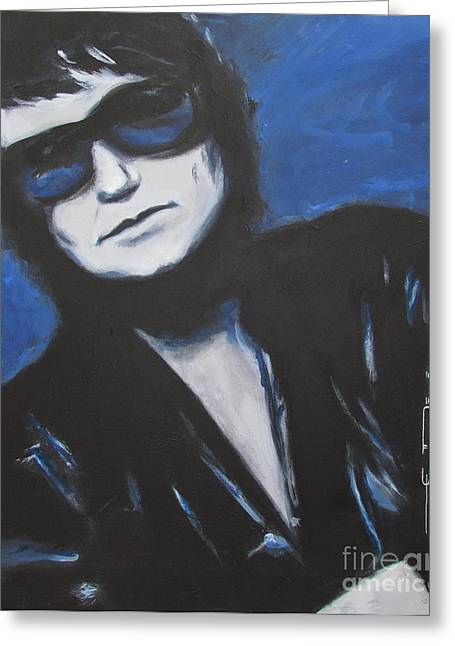 Celebrity Drawings Greeting Cards - Roy Orbison In Beautiful Dreams - Forever Greeting Card by Eric Dee