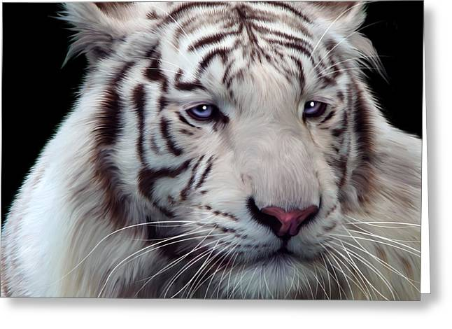 Altaica Greeting Cards - Royal Bengal White Tiger Greeting Card by Julie L Hoddinott