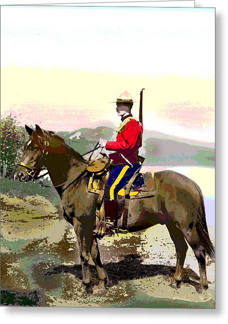 Police Mixed Media Greeting Cards - Royal Canadian Mounted Police Greeting Card by Charles Shoup