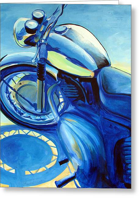 Motorcycle Greeting Cards - Royal Enfield Greeting Card by Janet Oh