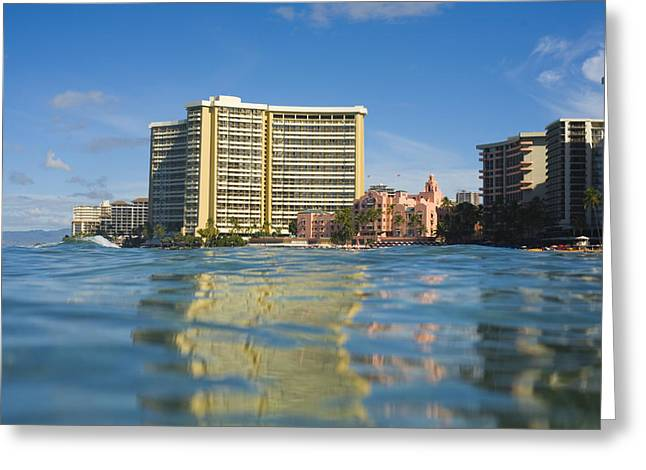 Unique View Greeting Cards - Royal Hawaiian Hotel seen from ocean Greeting Card by Dana Edmunds - Printscapes