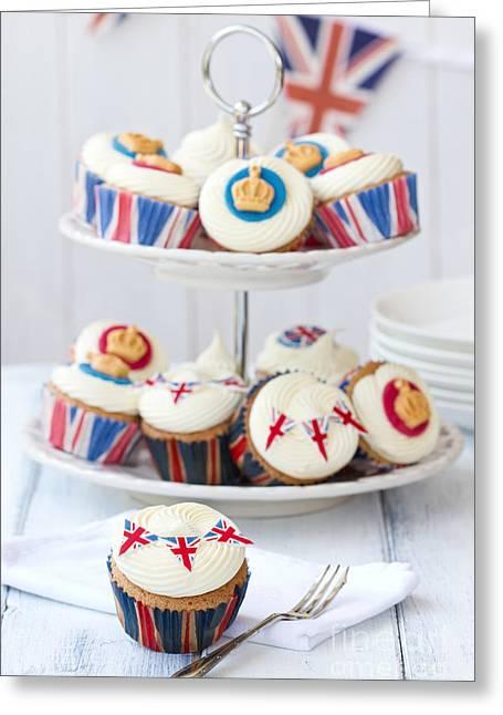 Royal Wedding Greeting Cards - Royal Jubilee cupcakes Greeting Card by Ruth Black