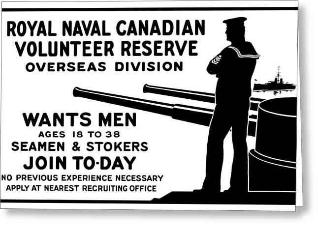 Canada Mixed Media Greeting Cards - Royal Naval Canadian Volunteer Reserve Greeting Card by War Is Hell Store