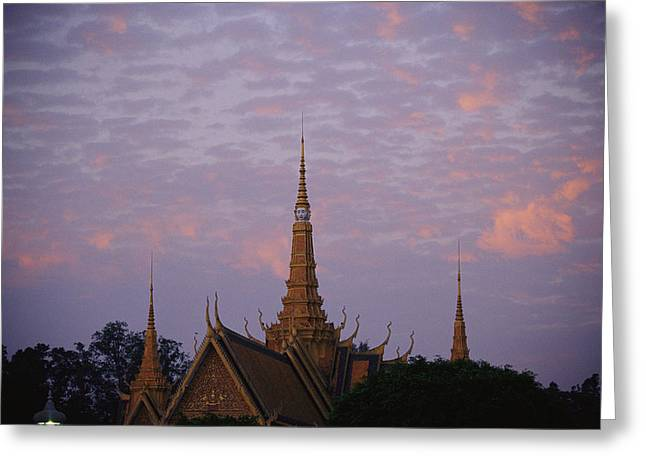 Royal Palace Rooftop At Dawn, Phnom Greeting Card by Steve Raymer
