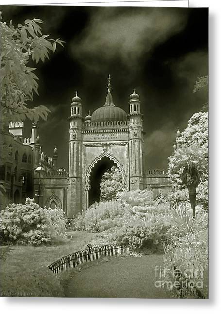 Infer Greeting Cards - Royal Pavilion Gate - Infrared Greeting Card by Steven Cragg