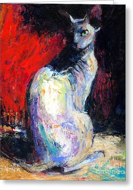 Cat Drawings Greeting Cards - Royal sphynx Cat painting Greeting Card by Svetlana Novikova