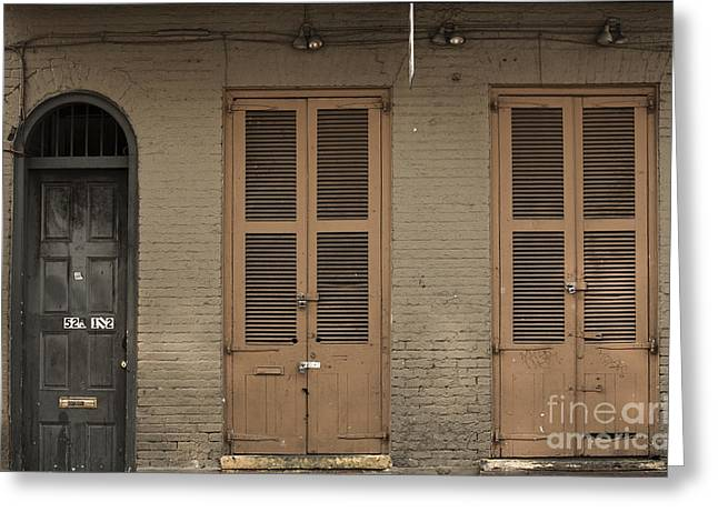 French Doors Greeting Cards - Royal Street Greeting Card by Leslie Leda