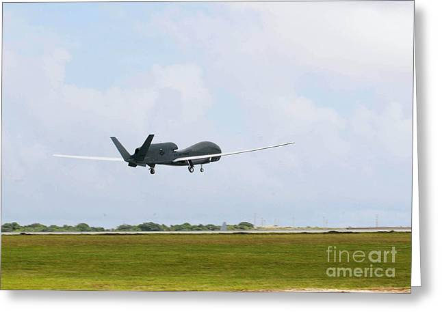 Global Hawk Greeting Cards - Rq-4 Global Hawks First Flight Greeting Card by Photo Researchers