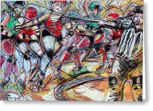 Roller Derby Mixed Media Greeting Cards - Rubber City Roller Girls Greeting Card by Terry Brown