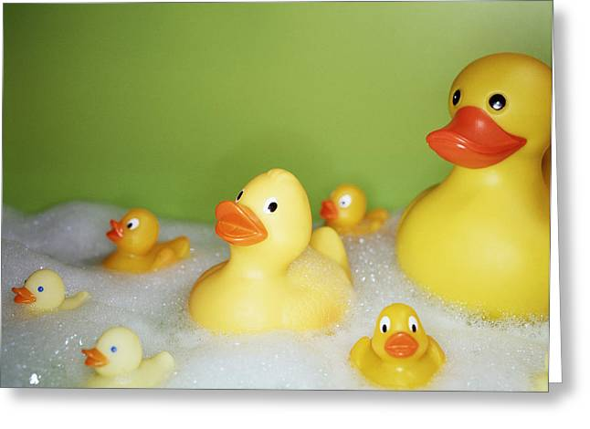 Bubbly Greeting Cards - Rubber Ducks Greeting Card by Lawrence Lawry