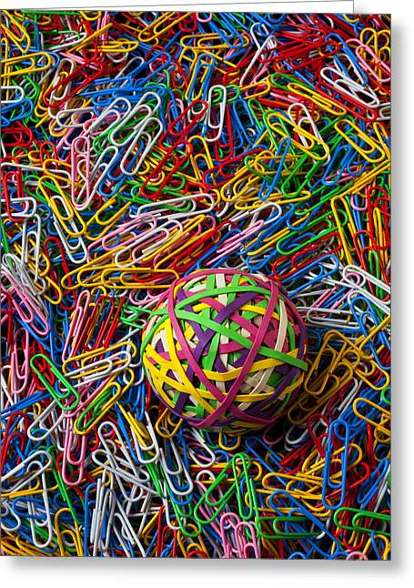 Clip Greeting Cards - Rubberband ball and paperclips Greeting Card by Garry Gay