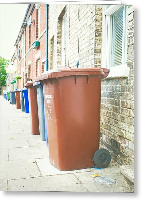 Rubbish Greeting Cards - Rubbish bins Greeting Card by Tom Gowanlock