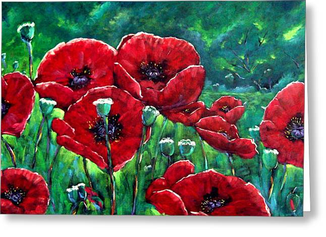 Nature Scene Paintings Greeting Cards - Rubies in the Emerald Forest Greeting Card by Richard T Pranke