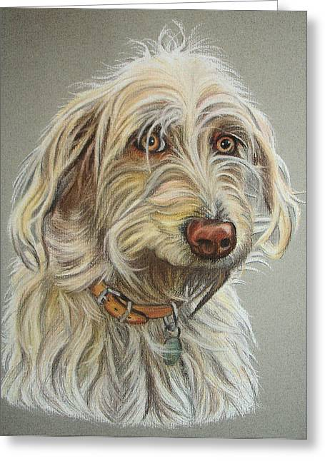 Puppies Pastels Greeting Cards - Ruby Greeting Card by Lucy Deane