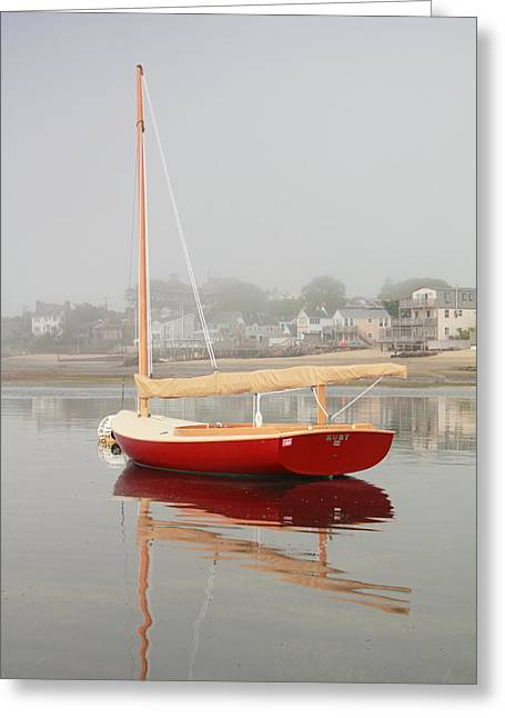 Ruby Red Catboat Greeting Card by Roupen  Baker