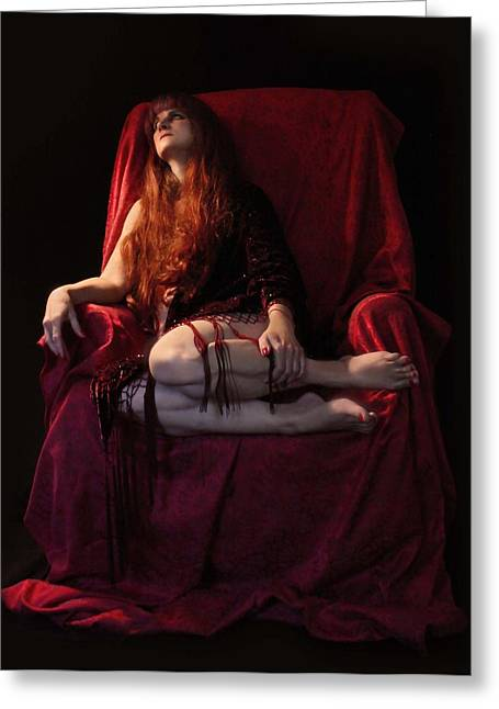 Posters Of Nudes Greeting Cards - Ruby Red Resting Greeting Card by Kathleen Horner