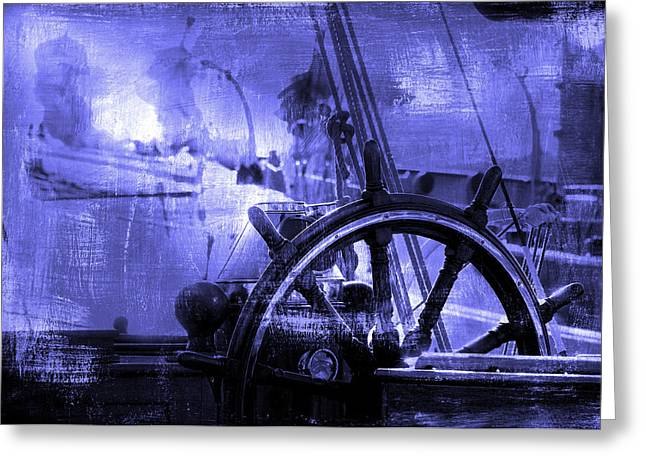 Best Sellers -  - Observer Greeting Cards - Rudder In Blue Greeting Card by Pedro Cardona