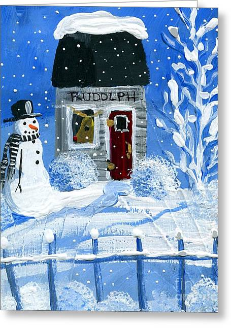 Rudolph Paintings Greeting Cards - Rudolph Greeting Card by Sylvia Pimental