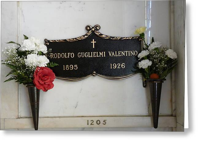 Rudolph Greeting Cards - Rudolph Valentino Grave Greeting Card by Jeff Lowe