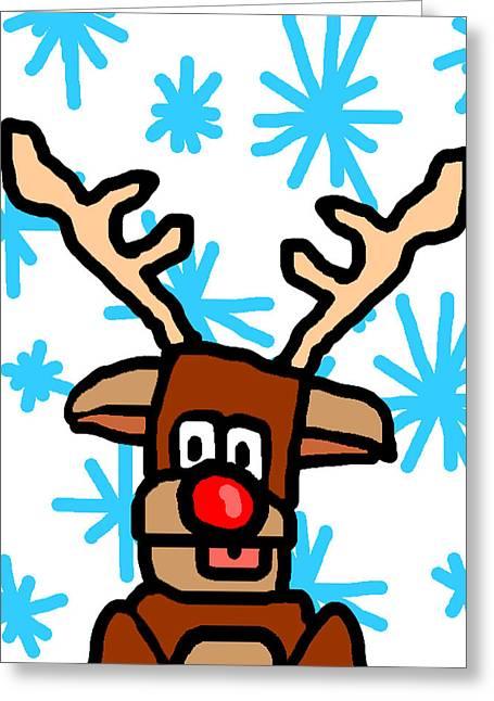 Rudolph Digital Art Greeting Cards - Rudolphs Portrait Greeting Card by Jera Sky