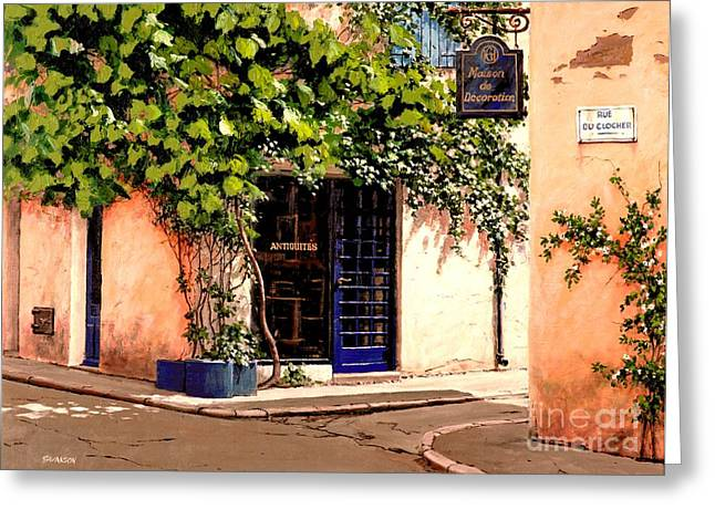 Michael Swanson Greeting Cards - Rue du Clocher Greeting Card by Michael Swanson