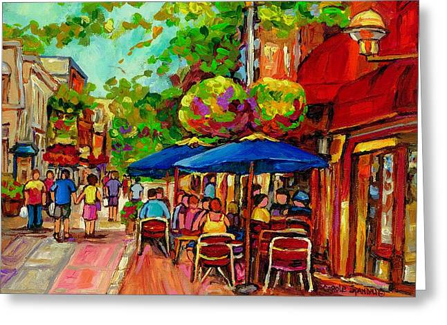 Dinner For Two Paintings Greeting Cards - Rue Prince Arthur Montreal Greeting Card by Carole Spandau