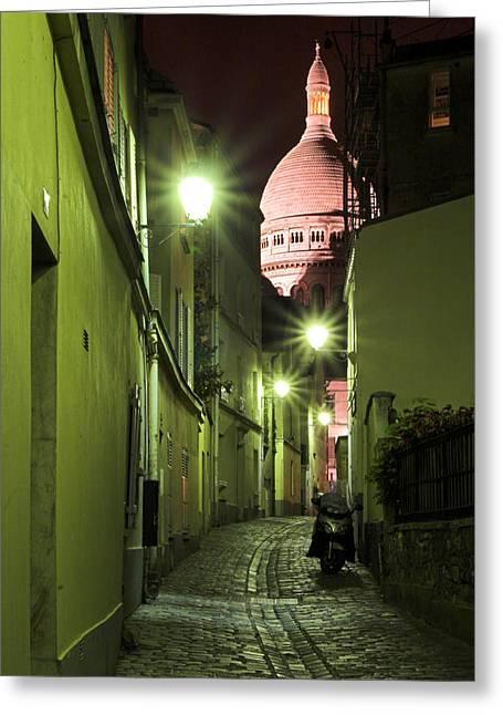 Bute Greeting Cards - Rue sainte Rustique avec Sacre Coeur au sommet de Montmartre Paris Greeting Card by Pierre Leclerc Photography