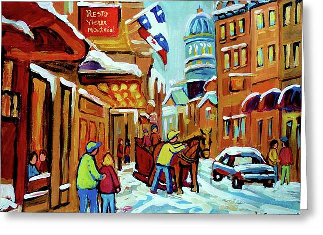 St.catherine Street Greeting Cards - Rue St Paul Montreal Streetscene Cafes And Caleche Greeting Card by Carole Spandau
