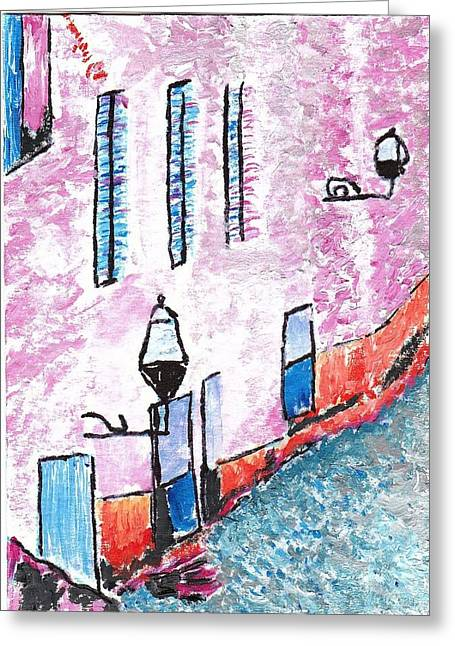 France Doors Pastels Greeting Cards - Rue Greeting Card by William Bowers