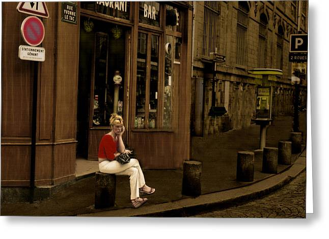Rue Yvonne Le Tac Montmarte Paris Greeting Card by Ted Lang