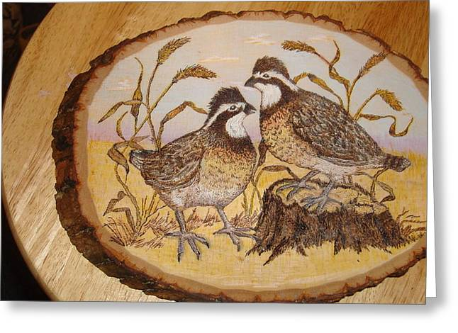Hunting Pyrography Greeting Cards - Ruffed Grouse Chat Greeting Card by Dakota Sage