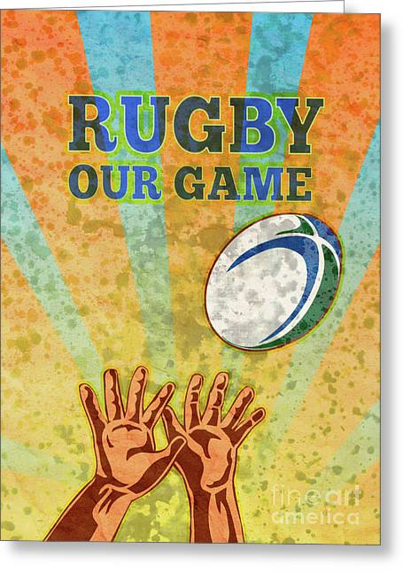 Balls Posters Greeting Cards - Rugby Player Hands Catching Ball Greeting Card by Aloysius Patrimonio