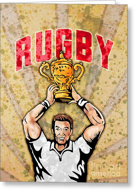 Balls Posters Greeting Cards - Rugby Player Raising Championship World Cup Trophy Greeting Card by Aloysius Patrimonio