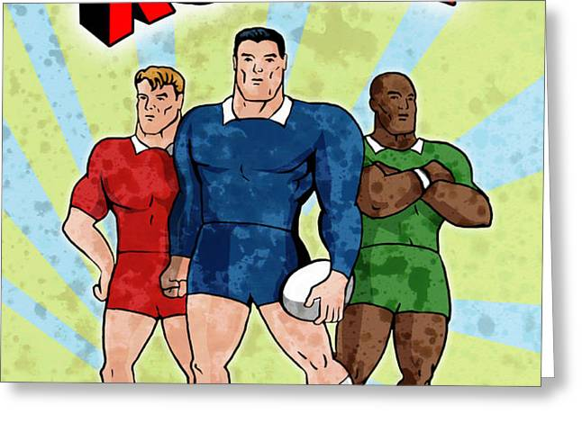 rugby player standing with ball Greeting Card by Aloysius Patrimonio