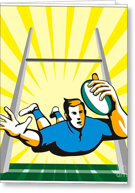 Footie Greeting Cards - Rugby Player try Greeting Card by Aloysius Patrimonio