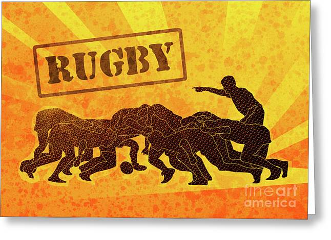 Balls Posters Greeting Cards - Rugby Players Engaged In Scrum  Greeting Card by Aloysius Patrimonio