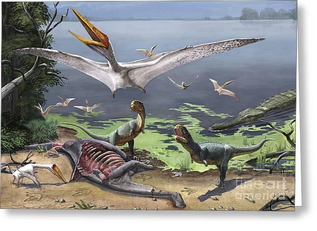 Rugops Primus Dinosaurs And Alanqa Greeting Card by Sergey Krasovskiy