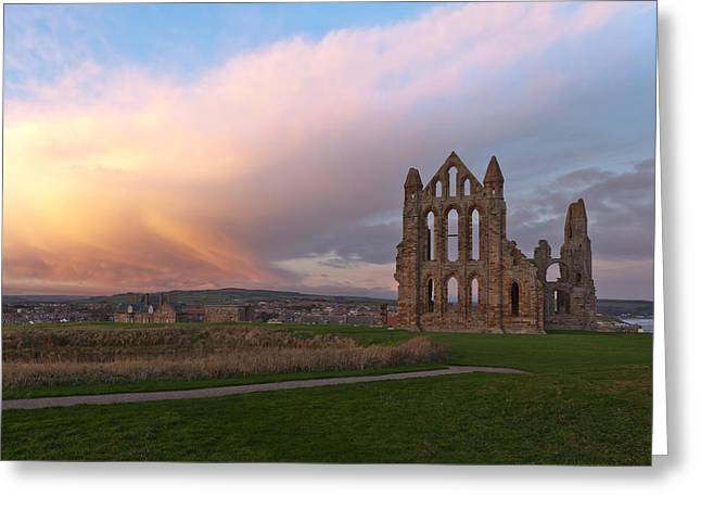 Abbey Giclee Print Greeting Cards - Ruin sunrise Greeting Card by Gary Finnigan