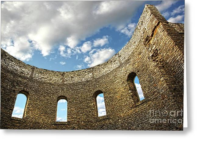Foreboding Greeting Cards - Ruin wall with windows of an old church  Greeting Card by Sandra Cunningham
