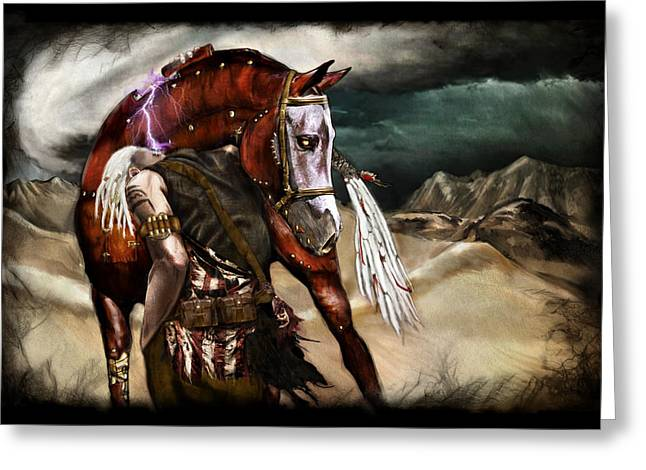 Macabre Greeting Cards - Ruined Empires - Skin Horse  Greeting Card by Mandem