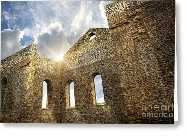Interior Scene Photographs Greeting Cards - Ruins of a church in South Glengarry Greeting Card by Sandra Cunningham