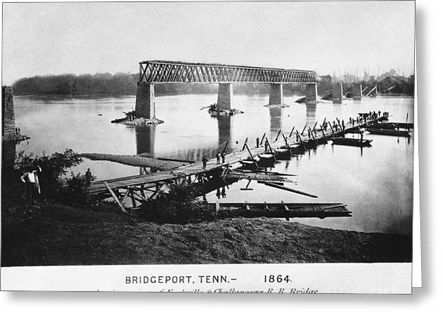 Tennessee River Greeting Cards - Ruins Of Bridge, Tennessee, 1864 Greeting Card by Photo Researchers