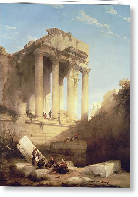 Ancient City Greeting Cards - Ruins of the Temple of Bacchus Greeting Card by David Roberts
